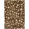 "Handmade Soho Brown/ Ivory Floral-Vine-Print New Zealand Wool Rug (3'6"" x 5'6"")"