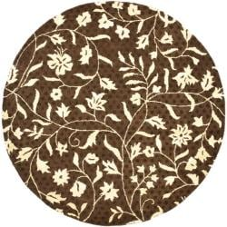 Contemporary Handmade Soho Brown/ Ivory New Zealand Wool Rug (6' Round)