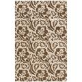 "Handmade Soho Brown/ Ivory Floral-Print New Zealand Wool Rug (3'6"" x 5'6"")"
