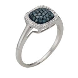 Sterling Silver 1/4ct TDW Blue Diamond Square Fashion Ring