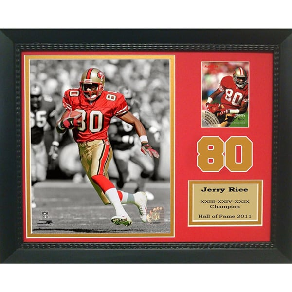 Hall of Fame Jerry Rice #80 Trading Card Deluxe Frame