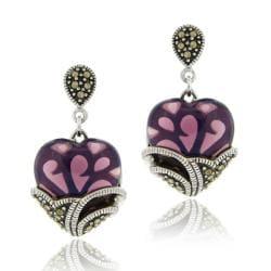 Glitzy Rocks Sterling Silver Purple Glass and Marcasite Heart Dangle Earrings