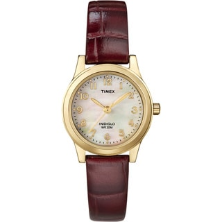 Timex Women's Burgundy Leather Strap Watch