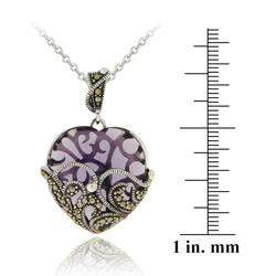 Glitzy Rocks Sterling Silver Purple Glass and Marcasite Heart Necklace