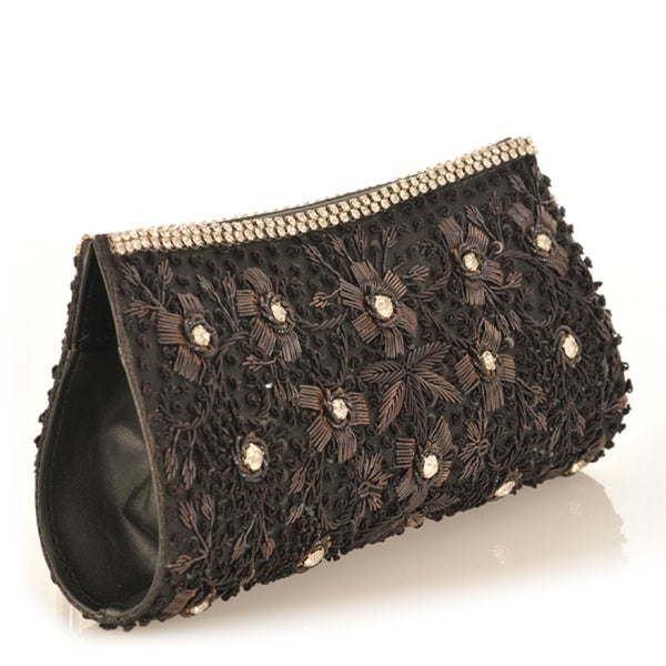 Fabric and Black Embroidery with Crystal Accents Clutch (India)