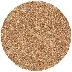 Hand-tied Pelle Tan Leather Shag Rug (4' Round)