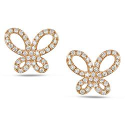Miadora 14k Pink Gold 1/5ct TDW Diamond Butterfly Earrings (G-H, SI1-SI2)