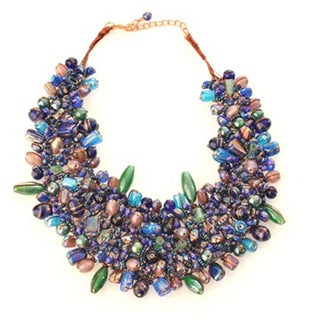 Wire-woven Blue and Multicolored Glass Beads Bib Necklace (India)