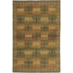 Nepalese Hand-knotted Green Kelp Wool Rug (4' x 6')
