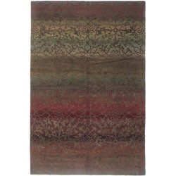 Nepalese Hand-knotted Mauve Divine Wool Rug (2' x 3')