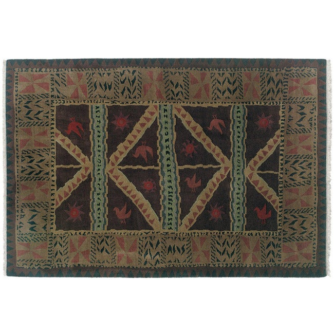 Nepalese Hand-knotted Chocolate Sundial Wool Rug (4' x 6')