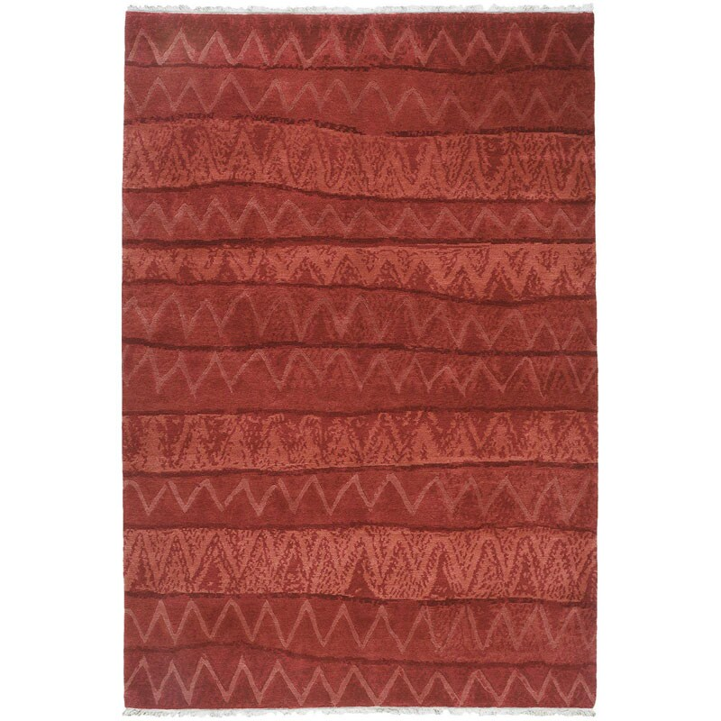 Nepalese Hand-knotted Red Ric Rac Wool Rug (4' x 6')