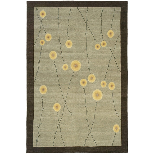 Nepalese Hand-knotted Grey Jardin Wool Rug (2'6 x 8')