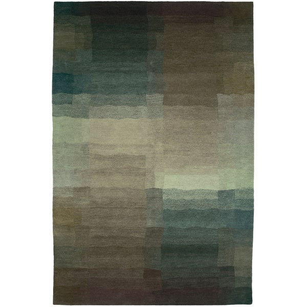 Nepalese Hand-knotted Plum Reflections Wool Rug (3' x 5')