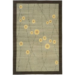 Nepalese Hand-knotted Grey Jardin Wool Rug (3' x 5')
