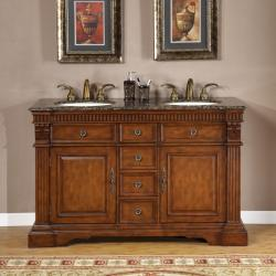 Silkroad Exclusive 55-inch Double-sink Cabinet Bathroom Vanity