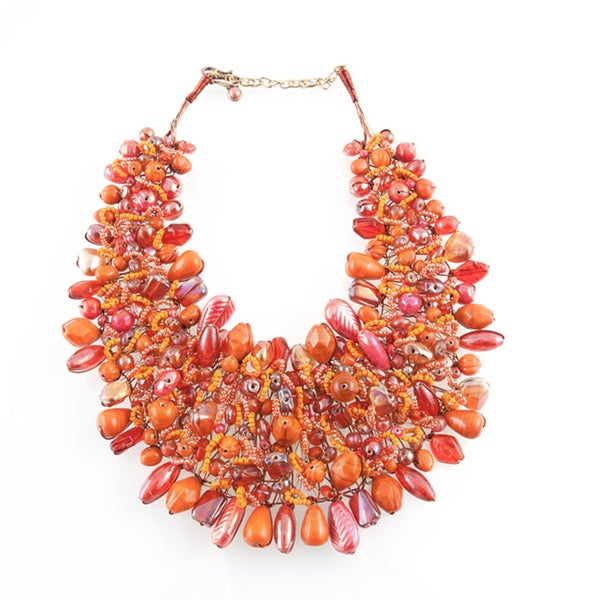 Wire-woven Tangerine and Multicolored Glass Beads Bib Necklace (India)