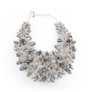 Wire-woven White and Grey Glass Beads Bib Necklace (India)