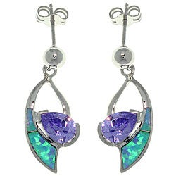 CGC Sterling Silver Created Opal and Cubic Zirconia Dangle Earrings