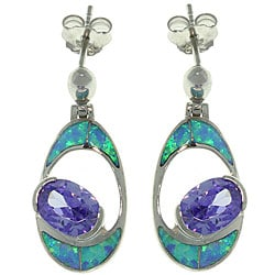 CGC Sterling Silver Created Opal and Cubic Zirconia Oval Earrings