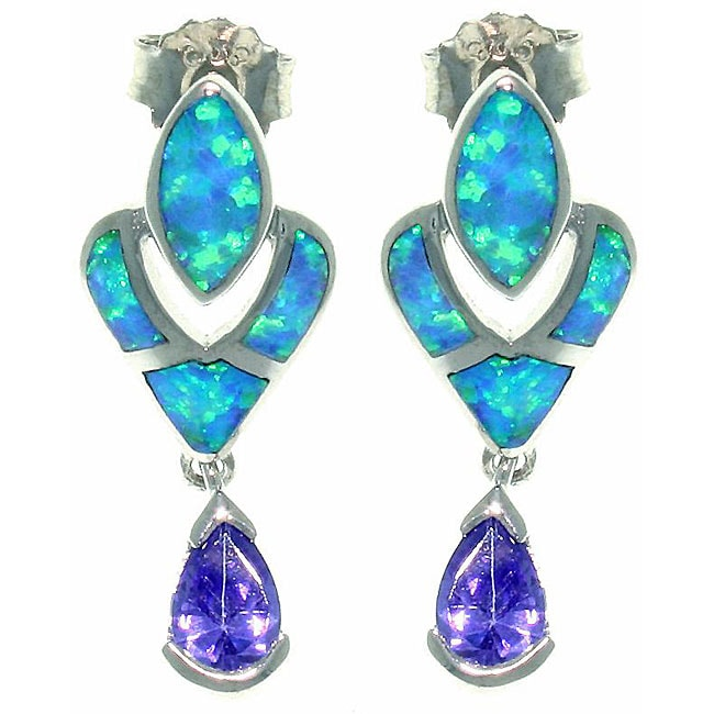 CGC Sterling Silver Created Opal and Cubic Zirconia Victorian Style Earrings