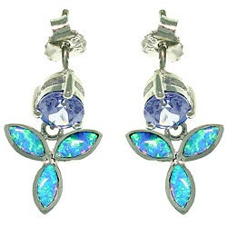 CGC Sterling Silver Wild Iris Created Opal and Cubic Zirconia Earrings