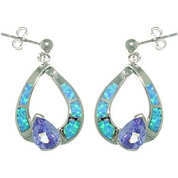 CGC Sterling Silver Created Opal Hoop and Purple CZ Dangle Earrings