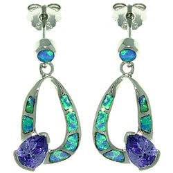 CGC Sterling Silver Created Opal and Cubic Zirconia Teardrop Earrings