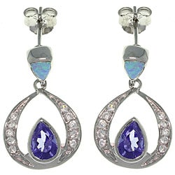 Carolina Glamour Collection Sterling Silver Created Opal and Cubic Zirconia Sparkling Dangle Earrings