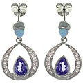 CGC Sterling Silver Created Opal and Cubic Zirconia Sparkling Dangle Earrings