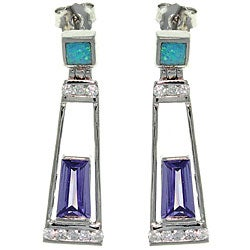 CGC Sterling Silver Created Opal and Purple CZ Dangle Earrings