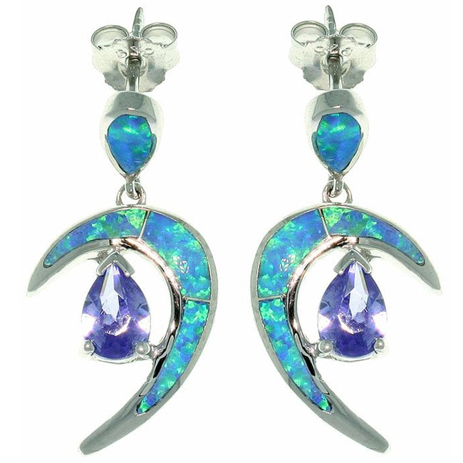 CGC Sterling Silver Created Opal and Cubic Zirconia Crescent Earrings