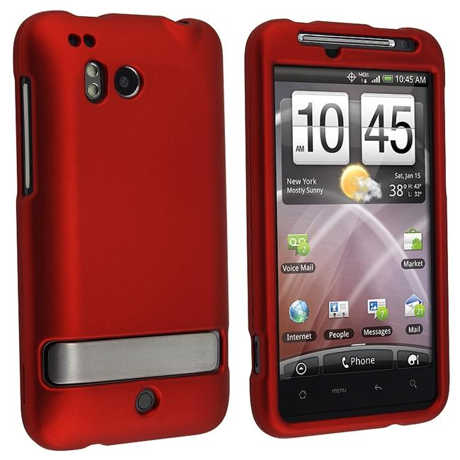 Snap-on Red Rubber Coated Case for HTC ThunderBolt 4G
