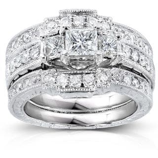 Annello 14k White Gold 1 1/10ct TDW Diamond Bridal Ring Set (H-I, I1-I2)