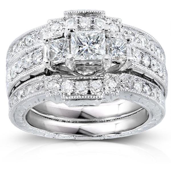 Annello 14k White Gold 1 1/10ct TDW Diamond Bridal Ring Set (H-I, I1-I2)