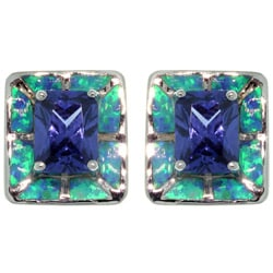 Carolina Glamour Collection Sterling Silver Created Opal and Cubic Zirconia Square Earrings