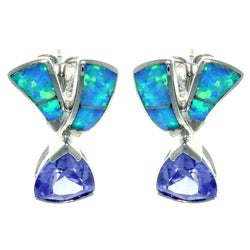 CGC Sterling Silver Created Opal and Cubic Zirconia Romantic Ribbon Earrings