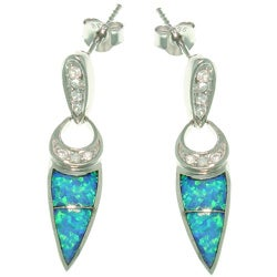 CGC Sterling Silver Created Opal and CZ Geometric Dangle Earrings