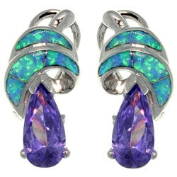 CGC Sterling Silver Created Opal and Cubic Zirconia Shimmering Swirl Earrings