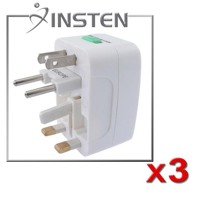 INSTEN Worldwide Travel Charger Adapter Plug (Pack of 3)
