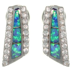 CGC Sterling Silver Created Opal and Cubic Zirconia Pave Earrings