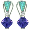 CGC Sterling Silver Created Opal and Cubic Zirconia Elegant Earrings