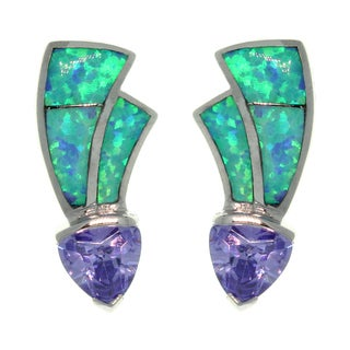 CGC Sterling Silver Created Opal and Cubic Zirconia Contemporary Earrings