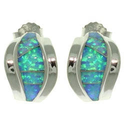 CGC Sterling Silver Created Opal Earrings