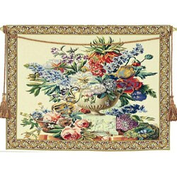 Floral Vase on Pedestal European Tapestry Wall Hanging