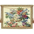 Floral Vase on Pedestal European Tapestry Wall Hanging