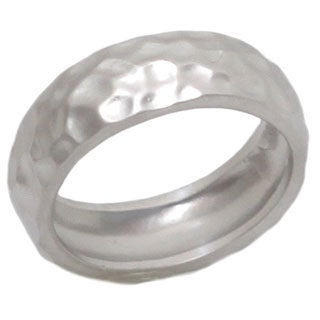 NEXTE Jewelry Silvertone Hammered Rounded Edge Wedding-style Band