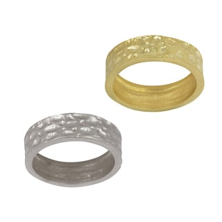 NEXTE Jewelry 14k Gold Overlay Hammered Contoured Edge Wedding-style Band