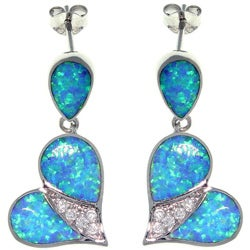 CGC Sterling Silver Created Opal and Cubic Zirconia Cherished Heart Earrings