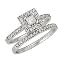 14k White Gold 1/2ct TDW Diamond Bridal Halo Ring Set (H-I, I1)